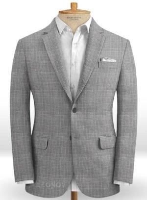 Серый пиджак в светлую клетку из шерсти, льна и шелка – Solbiati
