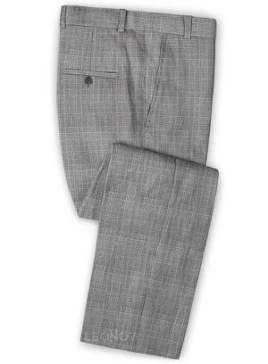 Серые брюки в светлую клетку из шерсти, льна и шелка – Solbiati