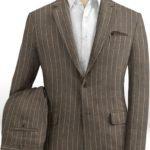 Коричневый костюм в тонкую полоску из шерсти, льна и шелка
