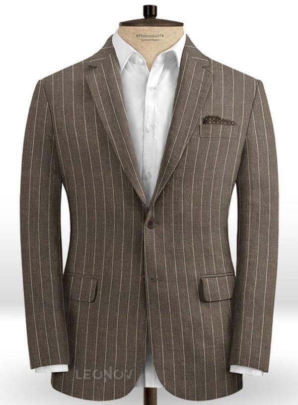 Коричневый пиджак в тонкую полоску из шерсти, льна и шелка – Solbiati