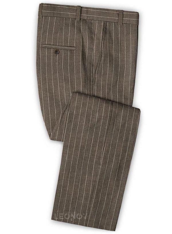 Коричневые брюки в тонкую полоску из шерсти, льна и шелка – Solbiati