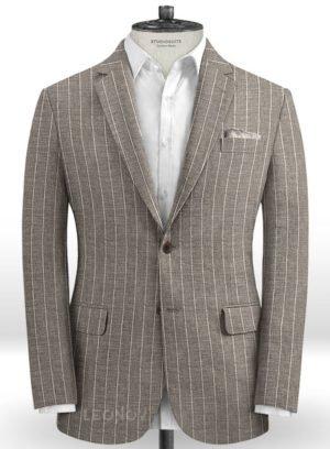Бежевый пиджак в меловую полоску из шелка, шерсти и льна – SolbiatiБежевый пиджак в меловую полоску из шелка, шерсти и льна – Solbiati