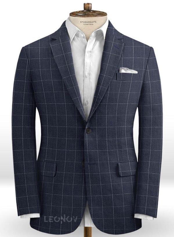 Темно-синий деловой пиджак в клетку из шелка, шерсти и льна – Solbiati