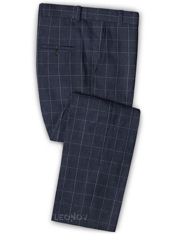 Темно-синие деловые брюки в клетку из шелка, шерсти и льна – Solbiati