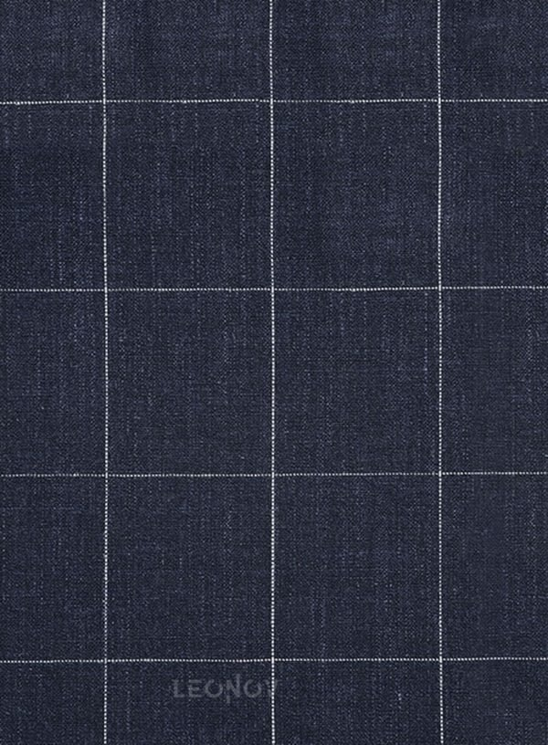 Темно-синий деловой костюм в клетку из шелка, шерсти и льна