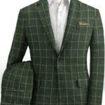 Зеленый костюм в тонкую клетку из шерсти, льна и шелка