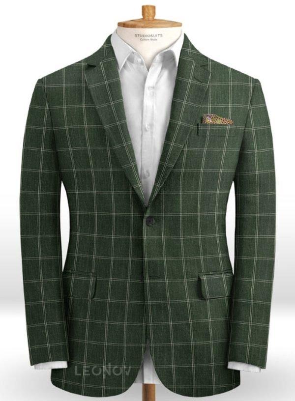 Зеленый пиджак в тонкую клетку из шерсти, льна и шелка – Solbiati