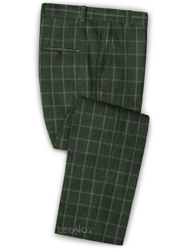Зеленые брюки в тонкую клетку из шерсти, льна и шелка – Solbiati