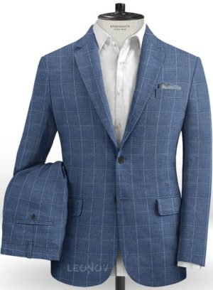 Светло-синий деловой костюм в клетку из шелка, шерсти и льна