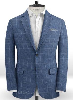 Светло-синий деловой пиджак в клетку из шелка, шерсти и льна – Solbiati