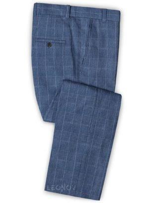 Светло-синие деловые брюки в клетку из шелка, шерсти и льна – Solbiati