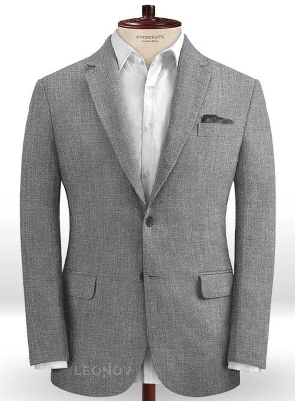 Повседневный утонченный серый пиджак шелка, шерсти и льна – Solbiati