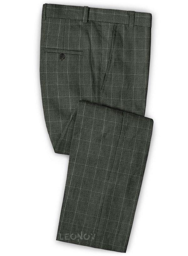 Легкий зеленый деловой костюм из шелка, шерсти и льна