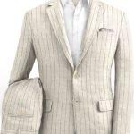 Бежевый костюм в меловую полоску из шелка, шерсти и льна