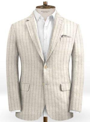 Бежевый пиджак в меловую полоску из шелка, шерсти и льна – Solbiati