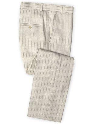 Бежевые брюки в меловую полоску из шелка, шерсти и льна – Solbiati