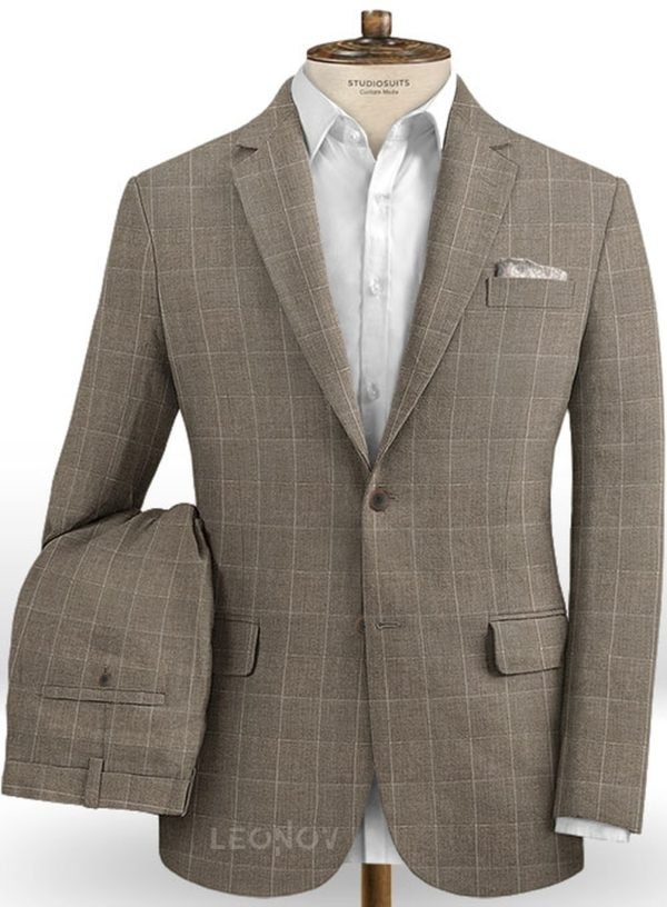 Серый костюм в тонкую клетку из шерсти, льна и шелка