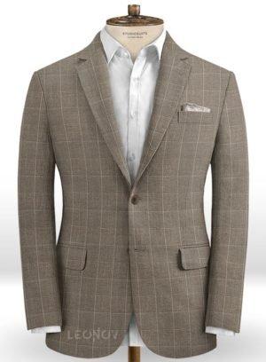 Серый пиджак в тонкую клетку из шерсти, льна и шелка – Solbiati