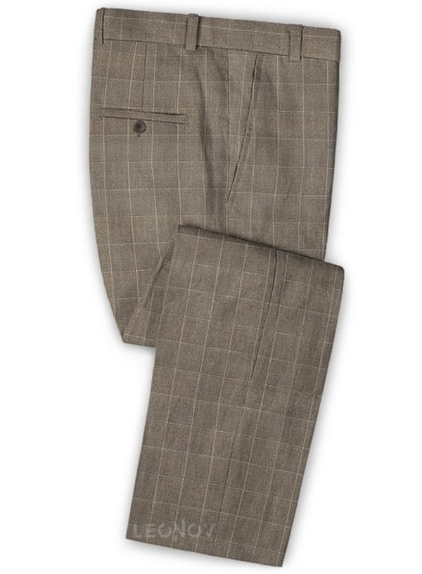 Серые брюки в тонкую клетку из шерсти, льна и шелка – Solbiati