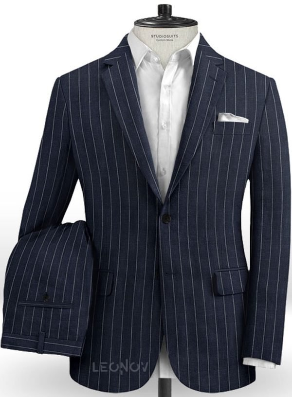 Тёмно-синий костюм в полоску из шерсти, льна и шелка