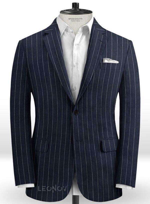 Тёмно-синий пиджак в полоску из шерсти, льна и шелка – Solbiati
