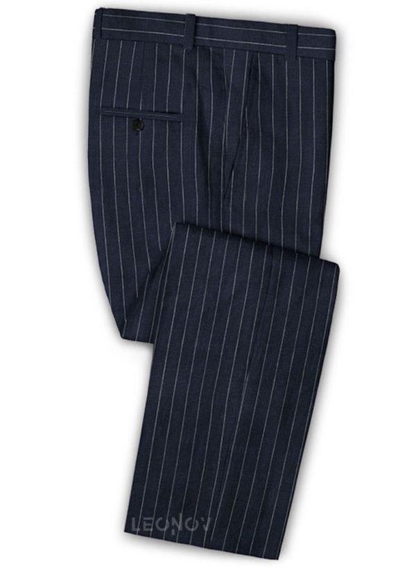 Тёмно-синие брюки в полоску из шерсти, льна и шелка – Solbiati