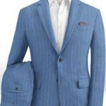 Голубой костюм в меловую полоску из шерсти, льна и шелка