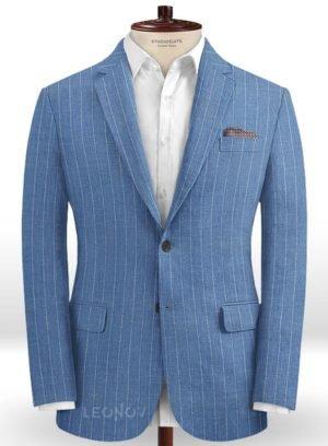 Голубой пиджак в меловую полоску из шерсти, льна и шелка – Solbiati
