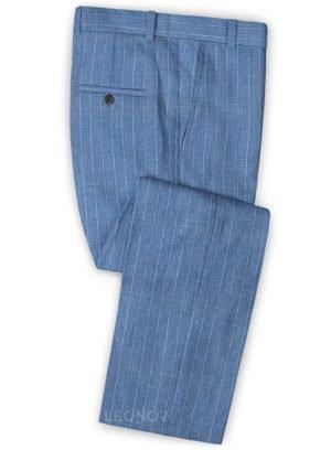 Голубые брюки в меловую полоску из шерсти, льна и шелка – Solbiati
