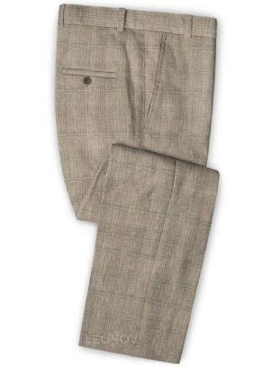 Бежевые брюки в клетку из шерсти, льна и шелка – Solbiati