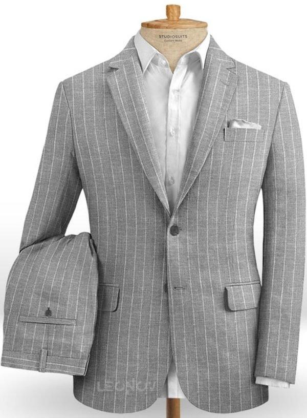 Серый костюм в меловую полоску из шелка, шерсти и льна