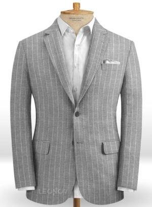 Серый пиджак в меловую полоску из шелка, шерсти и льна – Solbiati