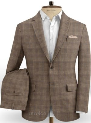 Светло-коричневый деловой костюм в клетку из шелка, шерсти и льна