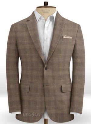 СветлоСветло-коричневый деловой пиджак в клетку из шелка, шерсти и льна – Solbiatiкоричневый деловой костюм в клетку из шелка, шерсти и льна
