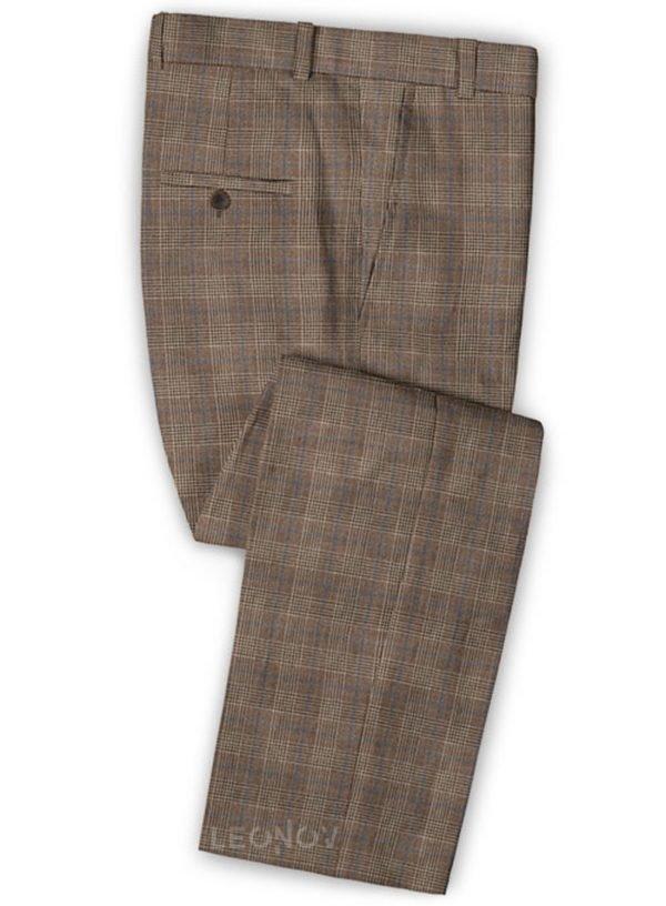Светло-коричневые деловые брюки в клетку из шелка, шерсти и льна – Solbiati