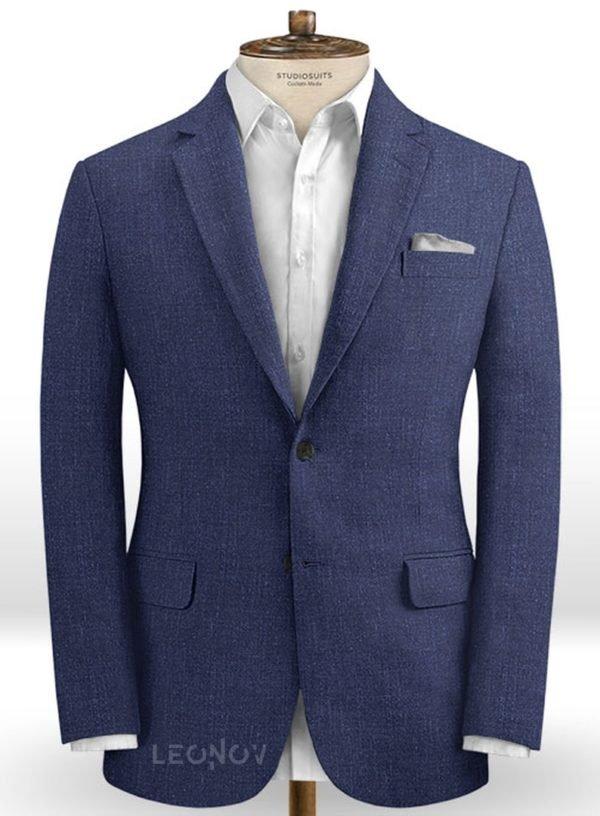 Повседневный деловой синий пиджак из шелка, шерсти и льна – Solbiati