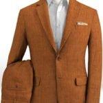 Летний коричневый костюм из льна