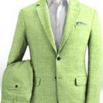 Костюм из льна весенний ярко-зеленый