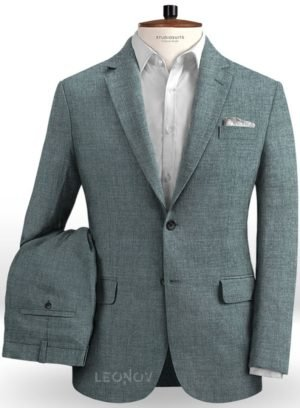 Летний костюм из льна каменный серый