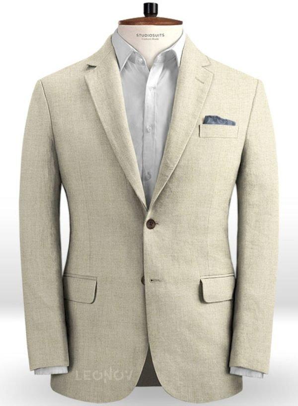Летний пиджак из льна каменный бежевый – Solbiati