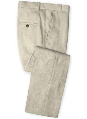 Летние брюки из льна каменные бежевые – Solbiati