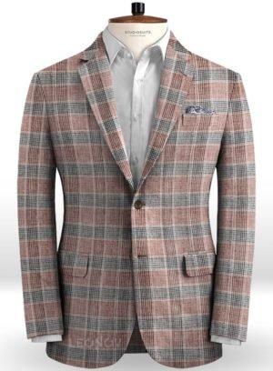 Пиджак винного цвета в серую клетку Глен из льна – Solbiati