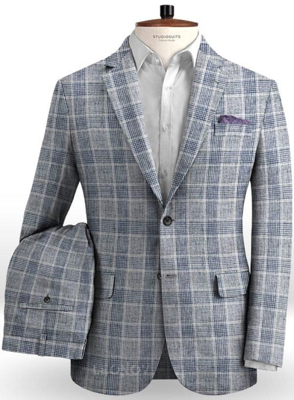 Серый клетчатый костюм из льна