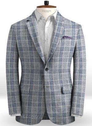 Серый клетчатый пиджак из льна – Solbiati