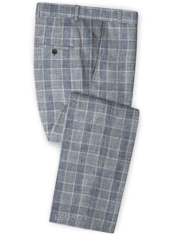 Серые клетчатые брюки из льна – Solbiati
