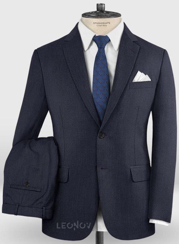 Повседневный темно синий костюм из шерсти