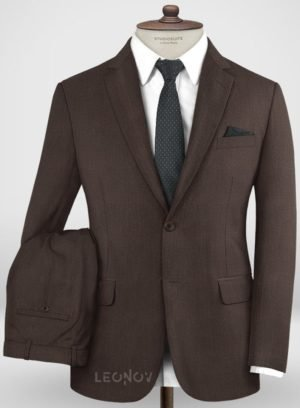 Повседневный коричневый костюм из шерсти
