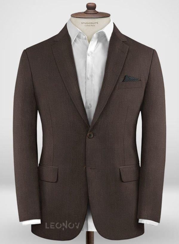 Повседневный коричневый пиджак из шерсти