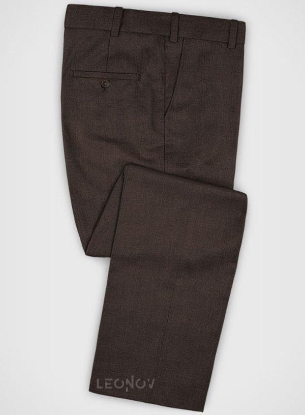 Повседневные коричневые брюки из шерсти