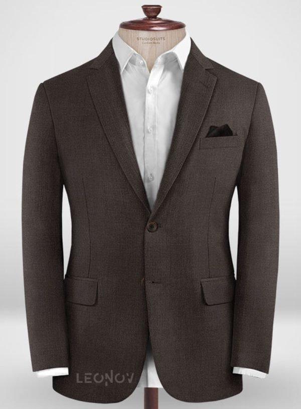 Повседневный темно-коричневый пиджак из шерсти